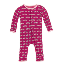 Kickee Pants Print Coverall, Berry Cow