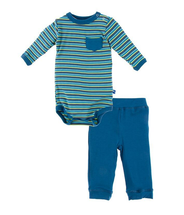 Kickee Pants Print Long Sleeve Pocket One Piece & Pant Outfit Set, Boy Anniversary Stripe