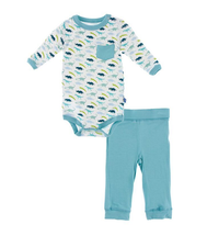Kickee Pants Print Long Sleeve Pocket One Piece & Pant Outfit Set, Boy Dino Print