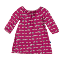 Kickee Pants Long Sleeve Peasant Dress, Berry Cow