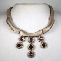 Antique Silver with Purple Luster and Blue Goldstone