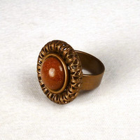 Antique Brass with Brown Goldstone