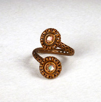 Adjustable Filigree Wrap Ring shown in Antique Brass with Topaz AB Stones