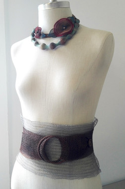 Pansy Metal Mesh Necklace seen with Wide Mesh Belt