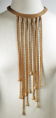 Multi Strand gold toned brass necklace, front view.