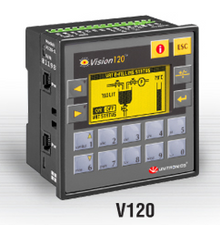 ** V120-22-UN2 ** - 12/24VDC, 12 pnp/npn digital inputs, 2 universal inputs, 2 high-speed counter/shaft encoder inputs, 12 transistor outputs, 2 high-speed outputs, I/O Expansion port and 2 RS232/RS485 Ports.