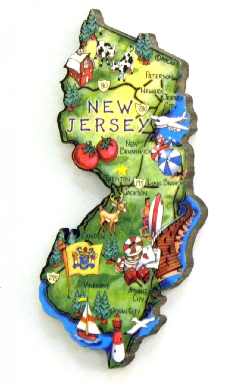 New jersey state map artwood magnet for Classic new jersey house music