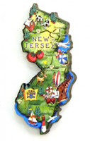 New Jersey State Map Artwood Magnet