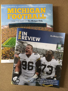 Combo includes the new 2016 Football lookback guide and hard cover book. (See description of each below)  Harbaugh's incredible second season has lifted the Michigan football team back to glory. You won't want to forget the memories from the 2016 season, complete with news coverage and pictures from the entire season - including the Orange Bowl! 44 pages.   Michigan Football: A History of the Nation's Winningest Program is a compilation of stories and pictures that have been printed in The Michigan Daily, the University of Michigan's student-run newspaper, from 1890 to winning the Sugar Bowl in January 2012.