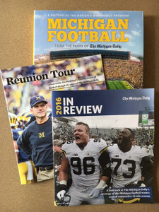 "A perfect combo for the Ultimate Michigan Football fan!   Harbaugh's incredible second season has lifted the Michigan football team back to glory. You won't want to forget the memories from the 2016 season, complete with news coverage and pictures from the entire season - including the Orange Bowl! 44 pages.   Michigan Football Lookback Guide - ""Reunion Tour"", presented by The Michigan Daily, is a 28-page compilation guide looking back on Coach Harbaugh's first season with Michigan Football, and features game-by-game recaps and photos.  Michigan Football: A History of the Nation's Winningest Program is a compilation of stories and pictures that have been printed in The Michigan Daily, the University of Michigan's student-run newspaper, from 1890 to winning the Sugar Bowl in January 2012."