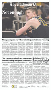 April 3, 2018 Front Page (Pick Up Only)