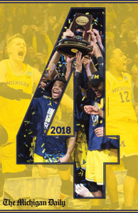 "2018 Basketball  ""4"" Maize Poster"