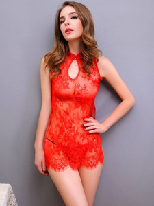 High Neck Sexy Chemise Lingerie Slip With Sleeveless Design