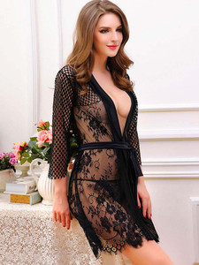 Revealing Long Sleeved Lace Robe Lingerie With Lace Trim And Satin Belt
