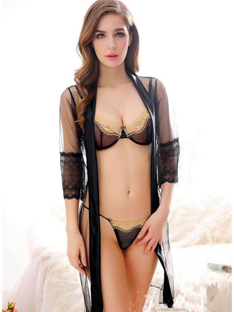 Seductive Sheer Robe Lingerie With Bra And G String -7600