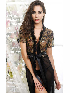 Short Sleeved Sheer Chemise Lingerie Gown In Black Equipped With Fur Trim