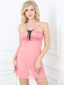 Strapless Chemise Slip Lingerie In Stretch Lace Design With Lace Up Front