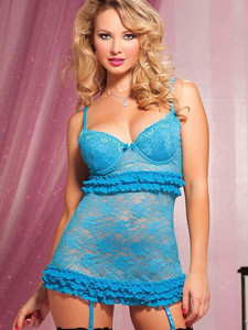 Seductive Chemise Garter Slip Lingerie In Blue Equipped With Adjustable Shoulder Straps And Underwire Cups