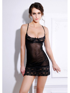 Sexy Chemise Slip Lingerie With Demi Cup Design In Black Equipped With Sheer Lace Hem Design And Lace Up Back