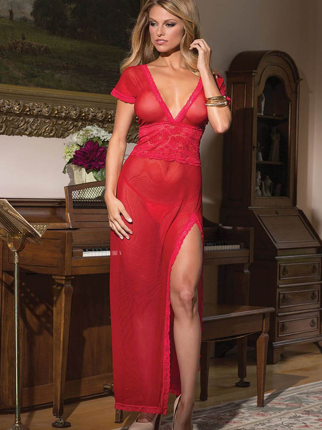 Romantic Red Chemise Gown Lingerie With Deep V Neck - Qlocherie