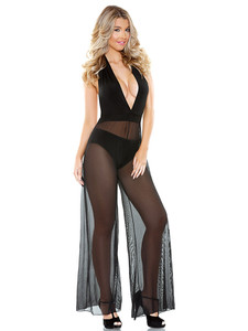 Halter Tie Onesie Lingerie With Sexy Open Back In Black With Deep V Front