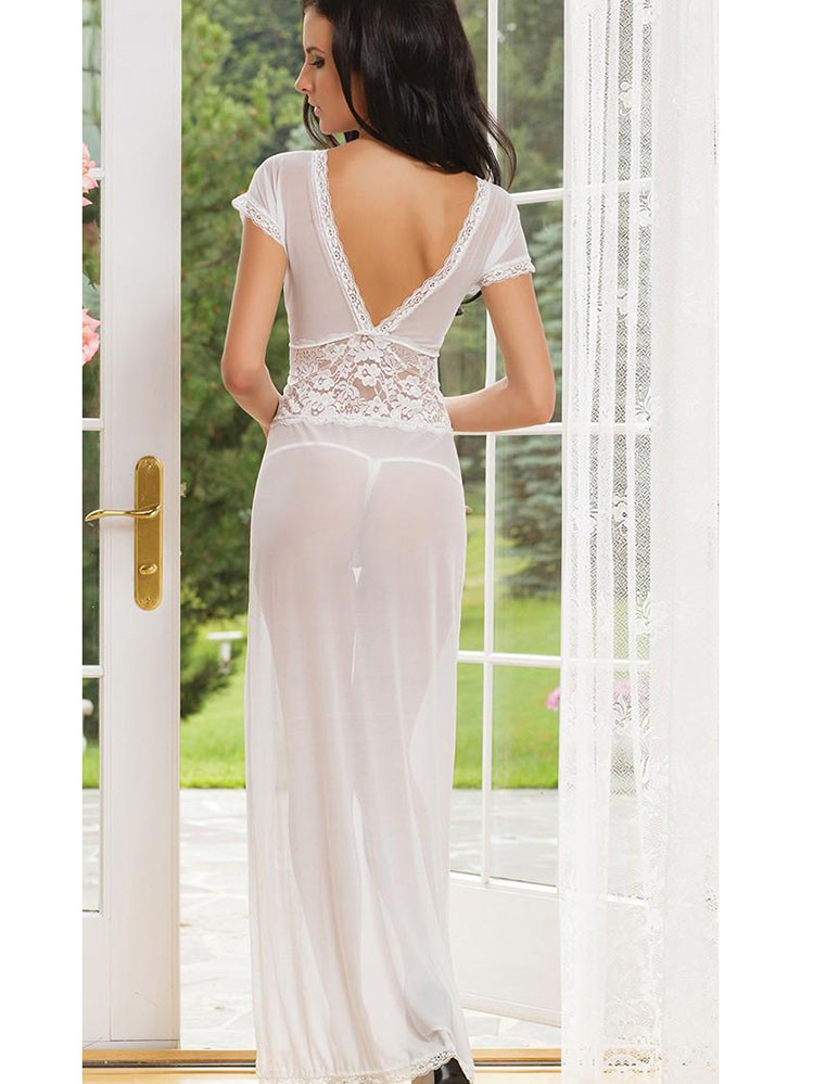 Wonderful White Chemise Gown Lingerie With Deep V Neck - Qlocherie
