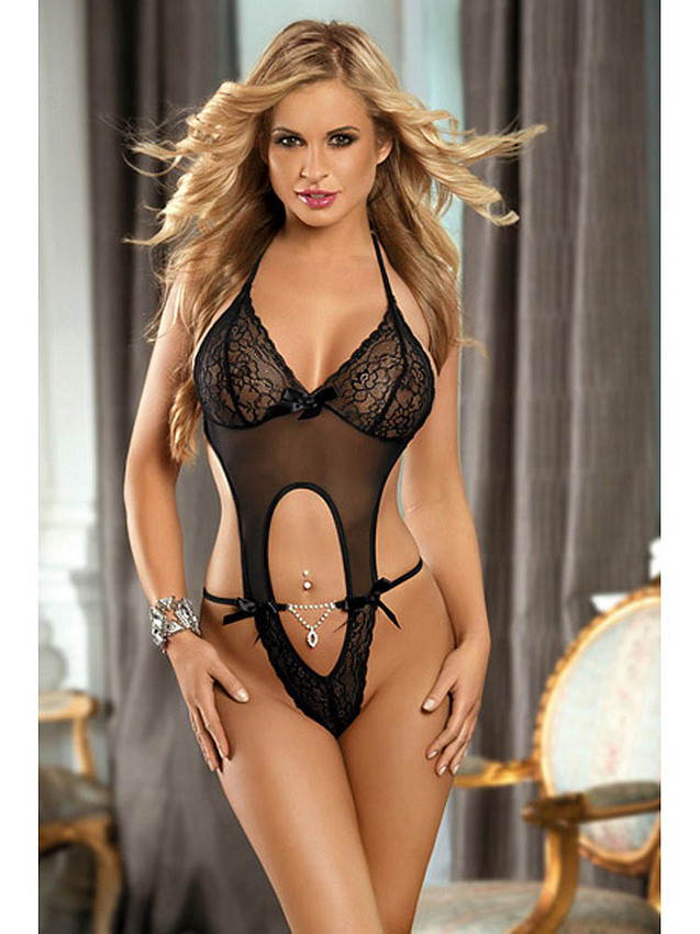 Classy Open Back Teddy Lingerie With Rhinestone Jewel Equipped With Keyhole Tummy, Floral Lace Cups, Decorative Satin Bows, Halter Neck And Adjustable Ties