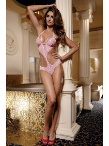 Romantic Teddy Lingerie With Sexy Open Back In Pink Equipped With Floral Lace Cups And Panty, Halter Neck, Adjustable Ties And Is Made With Nylon And Elastane