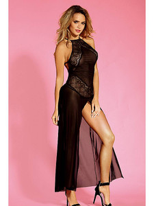 Magnificent Flowing Babydoll Gown Lingerie In Black Equipped With Adjustable Straps, Elegant Lace Panels And G String