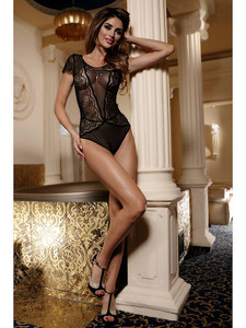 Lovely Lacy Teddy Bodysuit Lingerie With Full Front Coverage In Black Equipped With Shiny Embellishments, Short Sleeve And Shoulder Coverage, V Back Design And Is Made With Nylon And Elastane