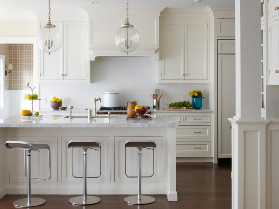tranquil kitchen with white marble epoxy countertops