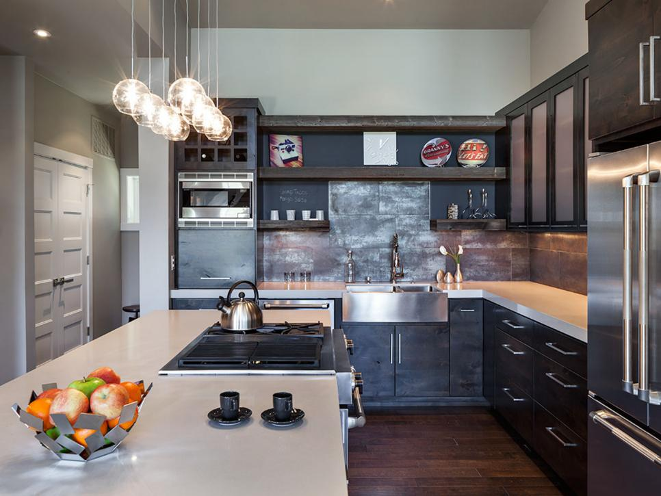 industrial kitchen with white epoxy countertops