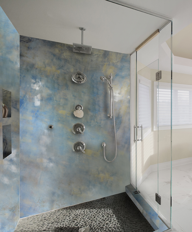 Seamless shower walls Ceramic Bathroom Showerwallepoxy Countertop Epoxy Shower And Accent Wall Epoxy Metallic Coatings Easy Diy Kits