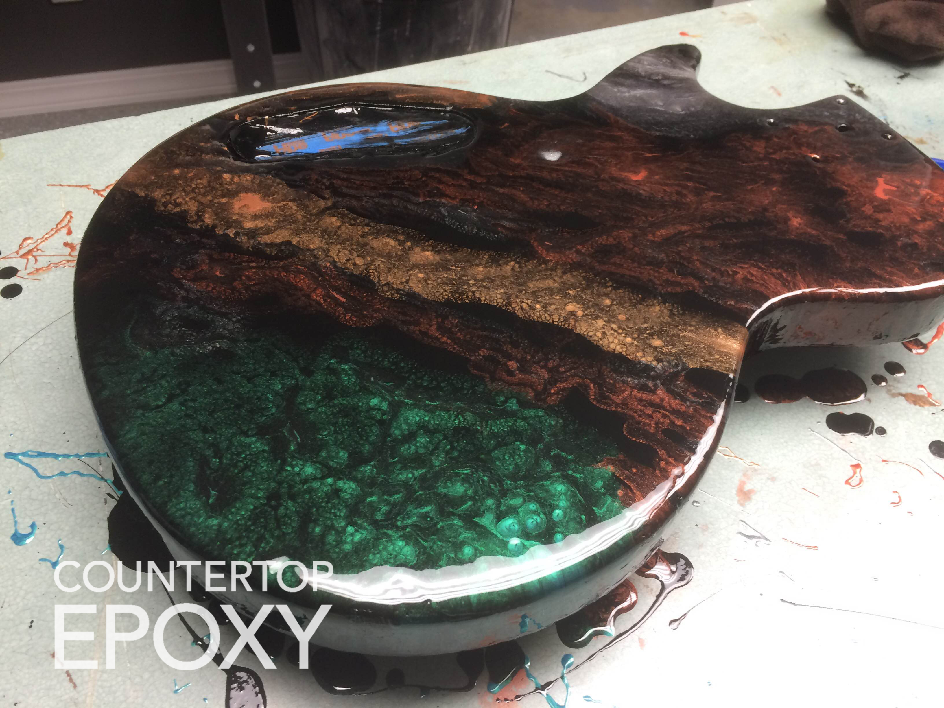 fx poxy epoxy color on electric guitar