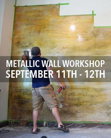 metallic wall epoxy resin workshop with countertop epoxy