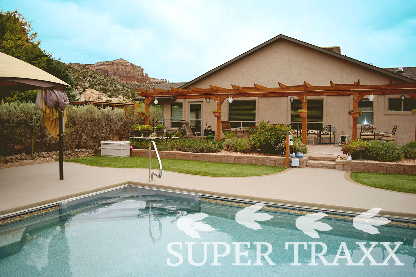 supertraxx outdoor flexx quartz sand coating on patio surrounding pool