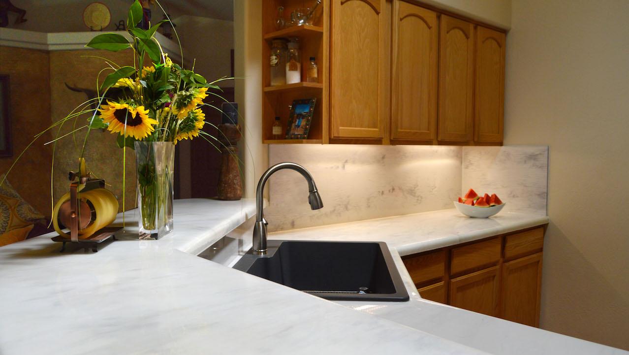 white marble kitchen