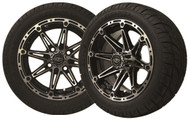 "12"" Element Machined/Black Wheels and Low Profile Tire Combo"