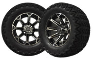 "12"" Vortex Machined/Black Wheels and Predator Tires - For Lifted Carts"