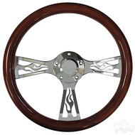 Euro Style Steering Wheel -  Mahogany Grip With Hot Flame Chrome Spokes