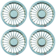 "8"" Silver 24 Spoke Golf Cart Wheel Covers - Set of 4"