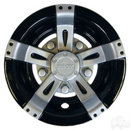 "8"" RHOX Vegas Style Golf Cart Wheel Cover in Metallic Silver and Black"