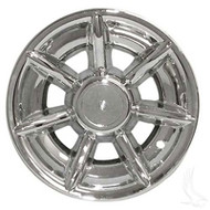 "10"" Spider 7 Spoke Chrome Golf Cart Wheel Cover - Set of 4"