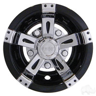 "8"" RHOX  Vegas Style Golf Cart Wheel Cover in Chrome and Black"