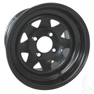 12'' Black 8 Spoke Steel Golf Cart Wheel