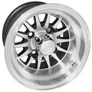 "10"" RHOX Phoenix Machined Golf Cart Wheel with Black Insert"