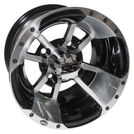 "10"" ITP SS112 Machined Golf Cart Wheel with Black Insert"