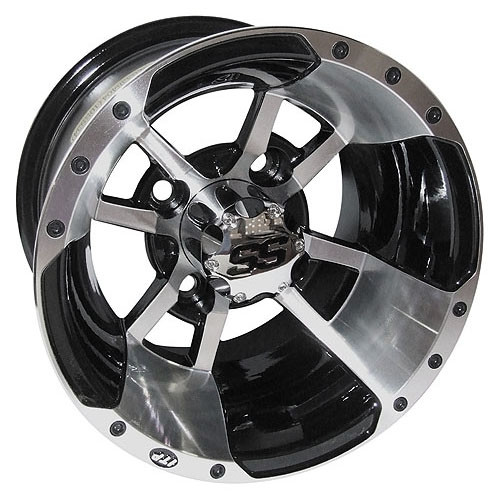 10 Inch Wheels For Golf Cart : Inch itp ss machined golf cart wheel with black