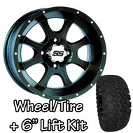 "12"" ITP SS108 Black Machined Wheels 