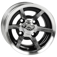 "10"" ITP SS6, 6 Spoke, Machined Golf Cart Wheel with Black Insert"